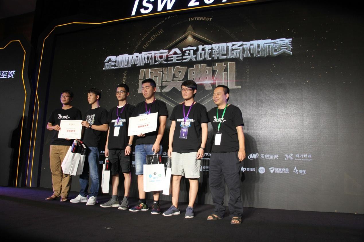 锦行科技CSO王俊卿和CTO吴建亮为获奖选手颁发最佳技术奖